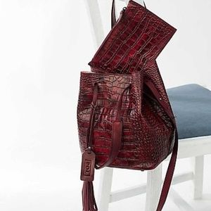 Handbags - Lush Red Wine Croc Leather Bucket Bag